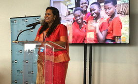 Jayathma Wickramanayake, the UN Secretary-General's Envoy on Youth, urged leaders to engage young people as partners in development. © UNFPA/Eddie Wright